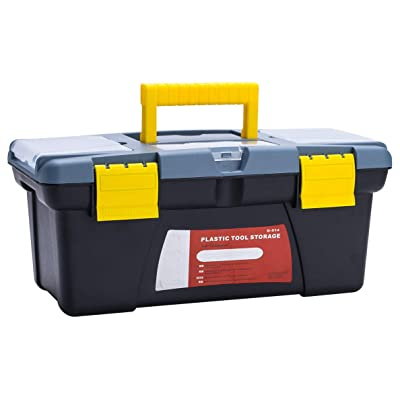 Tool Box 14-Inch, Craft Storage Plastic Tool Boxes with Removable Tray/Handle and Latches