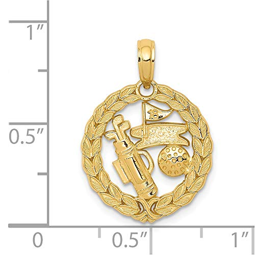 14k Yellow Gold Solid Polished Golf Theme Pendant -