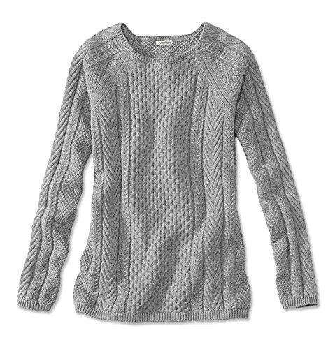 Orvis Women's Cotton Cable-Stitch Sweater, Heather Gray, X Large