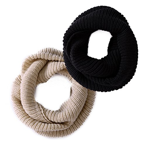 HDE 2 Pack Women's Winter Infinity Scarf Knit Wrap Circle Loop Warm Thick Cowl
