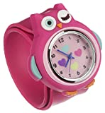 My Doodles Fun Children's Novelty Silicone Character Snap-On Analogue Wrist Watch with Removable Strap - Pink Owl
