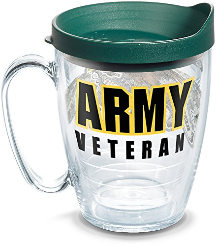 (Tervis 1278945 Army Veteran Insulated Tumbler with Wrap and Hunter Green Lid, 16 oz Mug - Tritan, Clear)