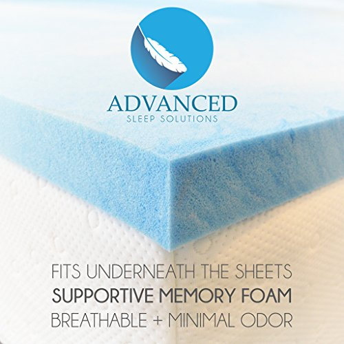 Advanced Sleep Solutions Gel Memory Foam Topper, King Size 2 Inch Thick, Ultra-Premium Gel-Infused Memory Foam Mattress/Bed Topper for Cooling, Conforming, and Comfort. Made in The USA