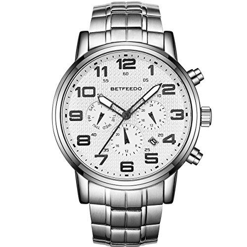 BETFEEDO Watches Men Luxury Brand Chronograph Men Sports Watches Waterproof Full Steel Quartz Men's Watch (White)