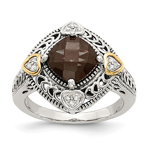 - 925 Sterling Silver 14k Diamond Smoky Quartz Band Ring Size 7.00 Stone Gemstone Fine Jewelry Gifts For Women For Her