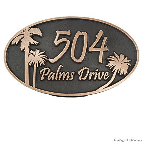 - Palm Tree Custom Plaque Oval 15x9 - Raised Bronze Metal Coated