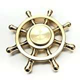 GuardEZ Tri-Spinner Fidget Toy With Premium Hybrid Ceramic Bearing (Brass Ship Wheel)