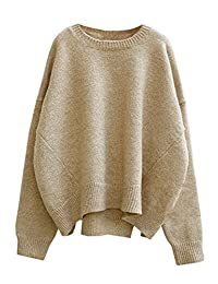 Futurino Women's Solid Long Drop Sleeves Loose Knit Pullover Sweater
