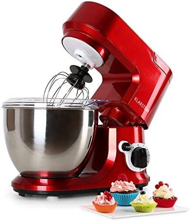 Klarstein Carina Rossa - Robot de Cocina Multifunción, Batidora, Amasadora, 800 W, 4 L, Batido Planetario, 6 Niveles ...