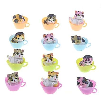 Osun Adornos de gatos de resina para decoración en miniatura ...