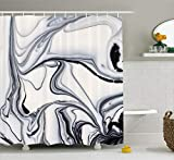 Ambesonne Marble Shower Curtain, Trippy Mix of Colors with Unusual Forms Creative Paintbrush Style Image, Cloth Fabric Bathroom Decor Set with Hooks, 70' Long, Grey Ivory