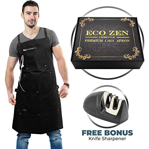 ecoZen Lifestyle Professional Grade Chef Apron (10 oz Cotton) for Kitchen, BBQ, Cooking and Grill Ideal Aprons for Women and Men Fully Adjustable (M to XXL) and Comfort + Pockets (Dark Black)