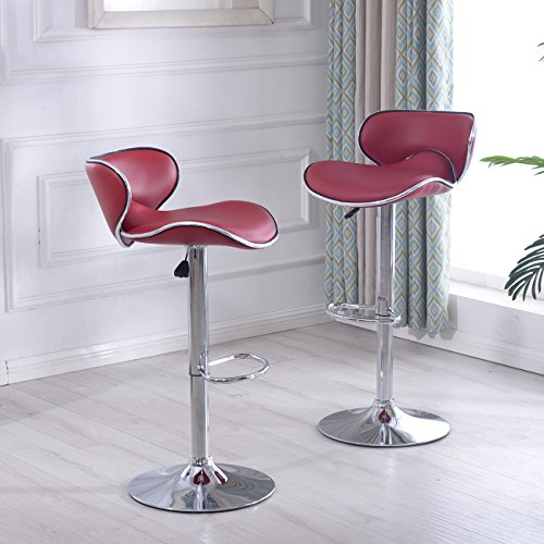 Belleze Cushioned Leatherette Airlift Adjustable Swivel Bar Stool w Chrome Base, Set of 2 Burgundy