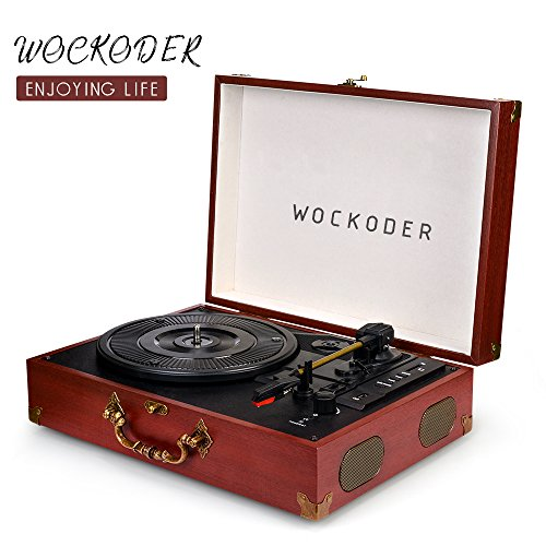 Record Player Turntable Vinyl 3 Speed Record Player Portable Wireless Phonograph Classic Style with Stereo Speaker (Red)
