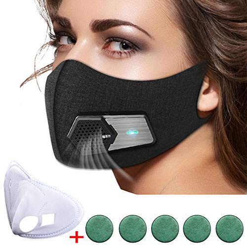 N95 Automatic Respirator Mask,Air Purifying Mask,Anti Pollution Mask For Pollen Allergy, Dust PM2.5, Running, Cycling and Outdoor Activities (Complete set, Black) by RSENR (Image #7)