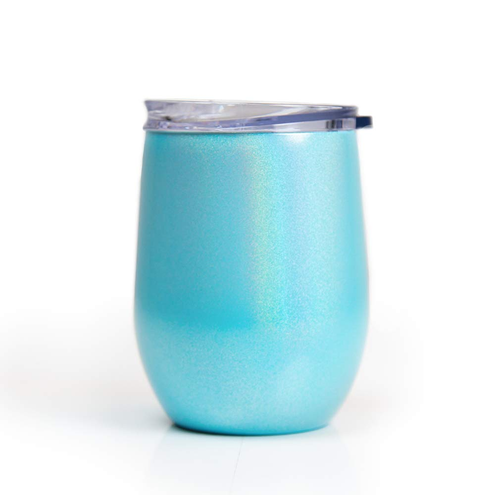 BPA Free Sip Lid Anti-Spill Rubber Gasket Stainless Steel Double Wall Opalescent Turquoise Metallic 12 oz Stemless Wine Tumbler with Travel Lid by Big Betty Sweat Proof
