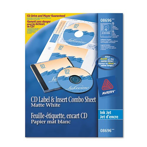 Averyamp;reg; Inkjet CD/DVD Label/Jewel Case Insert Combo Sheets, 20 each per (Jewel Case Inserts Pack)