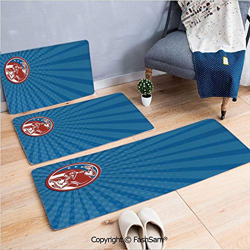 3 Piece Flannel Doormat Pop Art Gridiron Illustration with Old Fashioned Visual Properties Throwing Man Print for Kitchen Rugs Carpet(W15.7xL23.6 by W19.6xL31.5 by W31.4xL47.2)