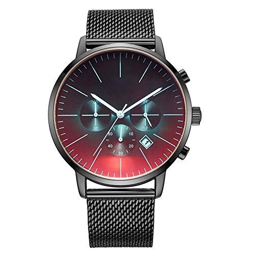 BEWITCHYU Practical Wristwatches Multi-Function Men 's Watch Timing Men' s Steel Belt Round Glass and Stainless Steel Calendar Movement Decorative Watch Bracelet