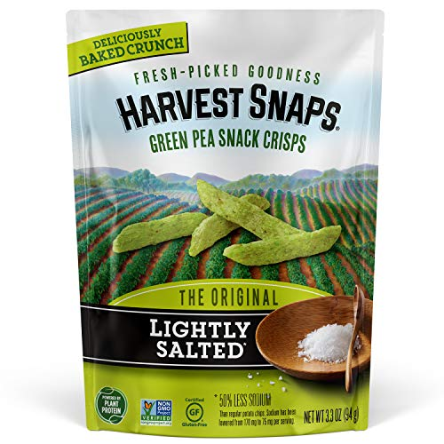 Harvest Snaps Green Pea Snack Crisps Lightly Salted, 3.3 Ounce (Pack of 12). Plant-based | Baked, never fried | Certified Gluten-Free