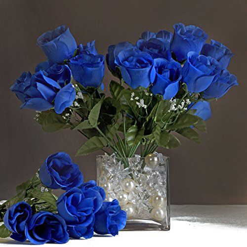Efavormart 84 Artificial Buds Roses Wedding Flowers Bouquets SALE - Royal (Blue Roses Flowers)