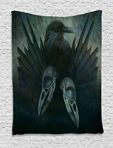 Ambesonne Gothic Decor Collection, Crow Spirit Wings Haunting Magic Mysticism Dark Shadowy Occult Art Print, Bedroom Living Room Dorm Wall Hanging Tapestry, Cobalt Black