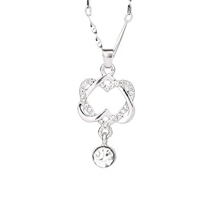 ce433a0c48 Amazon.com: Molyveva Gold Silver Plated Forever Lovers Heart Pendant  Necklace CZ Diamond Accent Double Heart Necklace (Silver): Jewelry