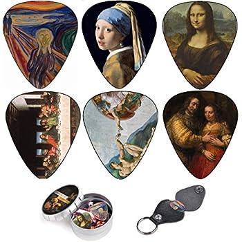 Cool Guitar Picks By Art Tribute, Renaissance Plectrum, Medium 12 Pack Themed Picks Celluloid , Keychain Pick Holder Included, Premium Gift Set For Guitar Player