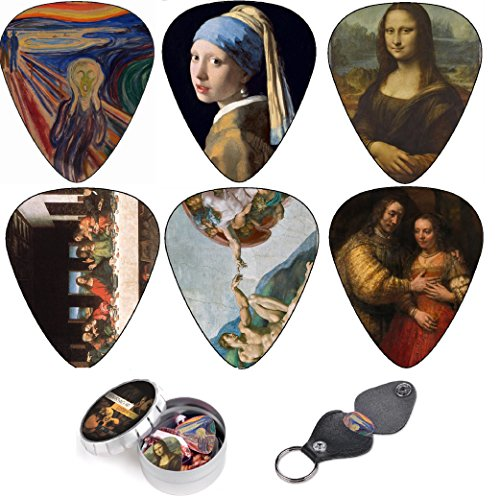 Cool Guitar Picks By Art Tribute, Renaissance art Leonardo da Vinci Guitar Picks, Medium 12 Pack Themed Picks Celluloid , Keychain Pick Holder Included, Premium Gift Set For Guitar Player