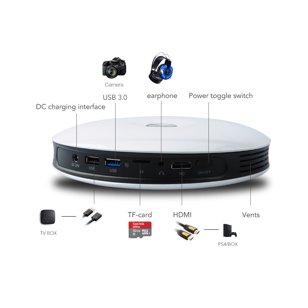 Mini Pocket Android DLP Full HD 1080P Home Theater Projector Wifi BT4.0 3000LM