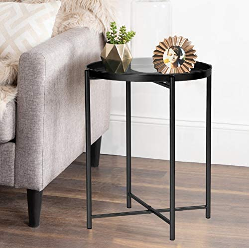 Joveco Round End Table- 16.9 Black Metal Side Tables- Small Nightstand with Removable Tray- Accent Coffee Tables for Living Room and Bedroom