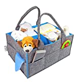 Baby Diaper Caddy – Large Diaper Storage Bin, Nursery Tote Bag, Changeable Compartments, Portable Car Travel Organizer for Baby Essentials, Perfect Baby Shower Gift, Newborn Registry Must Haves (Blue)