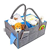 Baby Diaper Caddy – Large Diaper Storage Bin, Nursery Tote Bag, Changeable Compartments, Portable Car Travel Organizer for Baby Essentials, Perfect Baby Shower Gift, Newborn Registry Must Haves (Grey)
