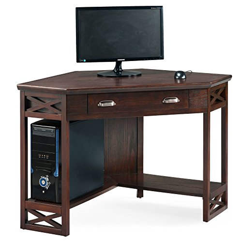 (Leick Corner Computer and Writing Desk, Chocolate Oak Finish)