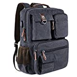 Canvas School Backpack Vintage Book Bags Multi Pockets Travel Rucksack Men Women Casual Backpack 17″ Laptop Backpacks For Sale