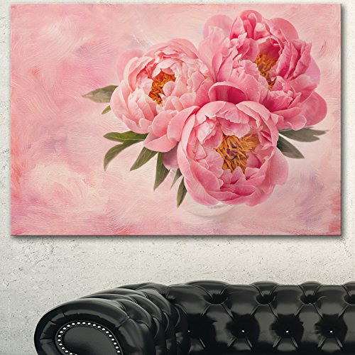 Designart  Peony Flowers in Vase on Pink Canvas Artwork Print