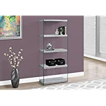 """Monarch Specialties I 3233 Bookcase-60"""" H/Grey Cement with Tempered Glass"""