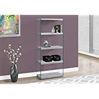 Monarch specialties I 3233, Bookcase, Tempered Glass, Grey Cement, 60H