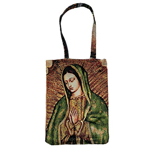 (Religious Inspirational Reusable Cotton Tapestry Tote Bag with Canvas of Our Lady of Guadalupe)