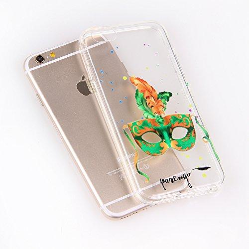 Funda para iPhone 6 Plus / 6s Plus, funda de silicona transparente para iPhone 6 Plus / 6s Plus, iPhone 6 Plus / 6s Plus Case Cover Skin Shell Carcasa Funda, Ukayfe caso de la cubierta de la caja prot green Mask