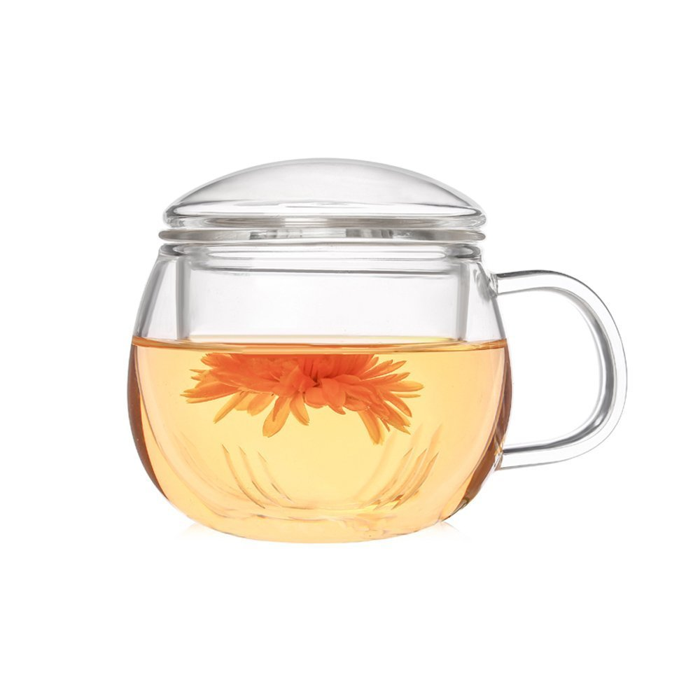 AsentechUK® 300 ML Clear Glass Tea Cup With Glass Infuser,Heat-resisting Borosilicate Glass Mug For Loose Tea Flowering Tea Blooming Tea--Easy To Brew And Clean