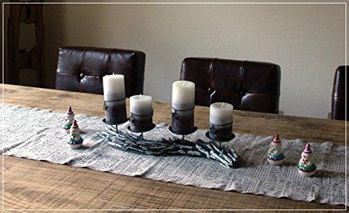 Adventskranz mit Kerzen Kerzenleuchter Treibholz Grau