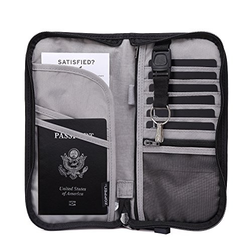Unisex Zipped Compact Wallet - Zoppen RFID Travel Passport Wallet & Documents Organizer Zipper Case with Removable Wristlet Strap, Black
