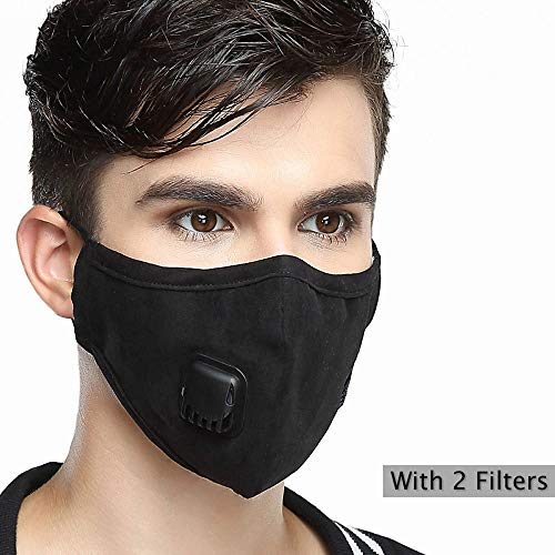 Pollution Mask Military Grade N95 Anti Dust+2 Filters Washable Cotton Respirator with Adjustable Ear Strap/Allergy/Cycling/Running/Hiking/Painting/Cleaning/Construction (Men-Black) ()
