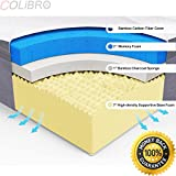 COLIBROX--NEW King Size 10'' Memory Foam Bamboo Fiber Cover Mattress Pad Bed Topper. memory foam mattress protector reviews. best mattress for memory foam bed. bamboo mattress pad reviews.