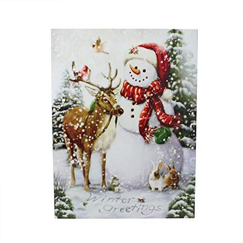 Noel Snowman - Northlight LED Lighted Snowman and Reindeer Christmas Canvas Wall Art 15.75