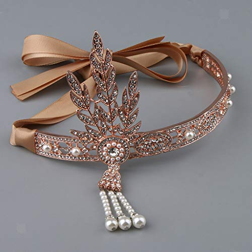 New Great Gatsby Headband 1920s Theme Ladies Rhinestone Flapper Headpiece (Color - Rose Gold)]()