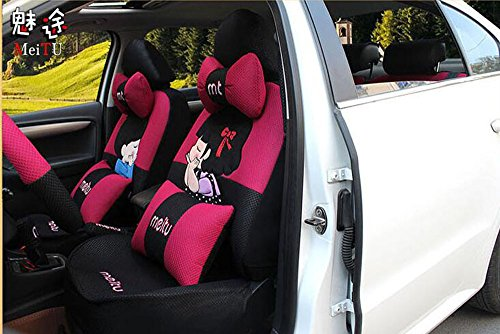 20pcs/SET new 2016 luxury cartoon Lover Seat Covers for cars Front & Back car covers four seasons Universal car seat cover car interior rose & Black V5610 by Maimai88 (Image #5)