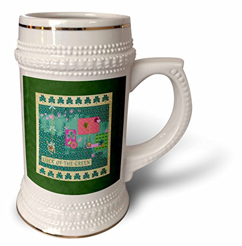 3dRose Beverly Turner St Patrick Day Design - Luck of the Green, Gold Wishbone, Shamrock, Flower, Pot, Heart Collage - 22oz Stein Mug (stn_282069_1) ()