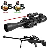 Vokul Tactical 3-9x40mm Illuminated Rifle Scope with Red Laser & Red Dot Sight of Red / Green Reticle Mount